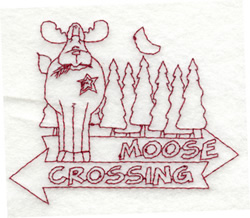 Moose Crossing embroidery design