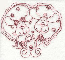 Moose Love embroidery design