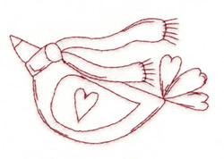 Winter Love Bird embroidery design