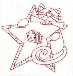 Cat With Star embroidery design