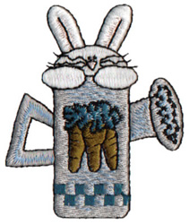 Bunny In Watering Can embroidery design