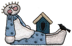 Birdhouse And Girl embroidery design