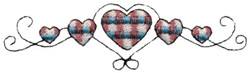 Plaid Hearts embroidery design