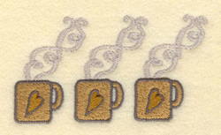 Three Small Mugs embroidery design