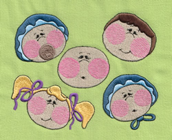 Five Babies embroidery design