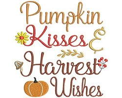 Pumpkin Kisses and Harvest Wishes embroidery design