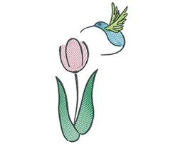 Hummingbird Tulip embroidery design