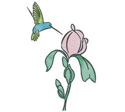 Hummingbird Rose embroidery design