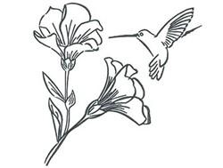 Humminbird Blooms Outline embroidery design
