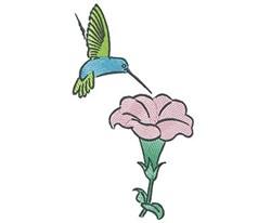 Hummingbird Blossom embroidery design