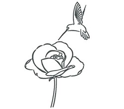 Hummingbird Rose Outline embroidery design