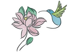 Rose Hummingbird embroidery design