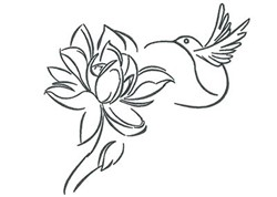 Rose Hummingbird Outline embroidery design