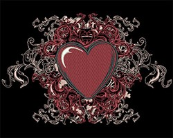 Heart with Swirls embroidery design
