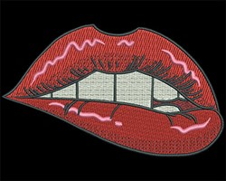 Hot Lips embroidery design
