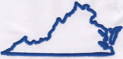 Virginia Outline embroidery design