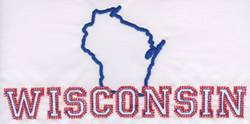 Wisconsin Outline embroidery design