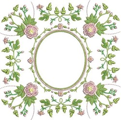 Rose Oval embroidery design