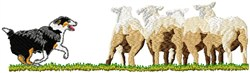 Sheep And Herding Dog embroidery design