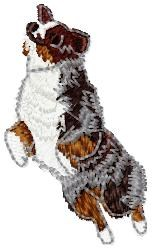 Jumping Cattle Dog embroidery design