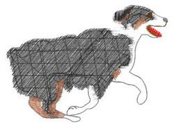 Running Herding Dog embroidery design