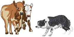 Border Collie And Cows embroidery design