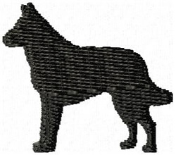Belgian Malinois Dog Silhouette embroidery design