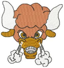 Bison Head Smoking embroidery design