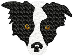 Border Collie Dog Face embroidery design