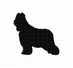 Briard Dog Silhouette embroidery design