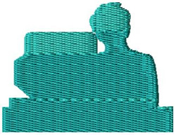 Sitting at Computer embroidery design
