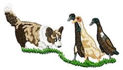Corgi with Ducks embroidery design