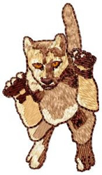Leaping Cougar embroidery design