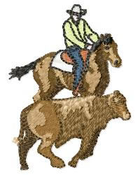Cowboy with Steer embroidery design
