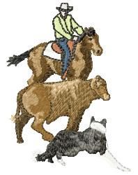 Cowboy, Steer & Border Collie embroidery design