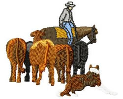 Cowboy with Dog and Cattle embroidery design