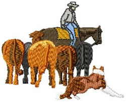 Cowboy, Cattle & Border Collie embroidery design