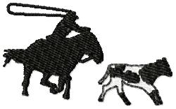 Cowboy Roping Cow embroidery design