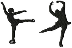Two Figure Skaters embroidery design