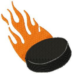 Flaming Puck embroidery design