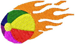 Flaming Beach Ball embroidery design