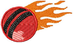 Flaming Cricket Ball embroidery design