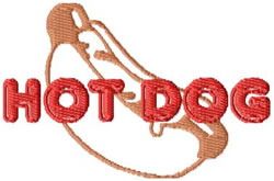 Hot Dog embroidery design