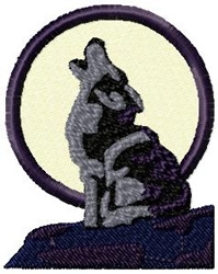 Wolf Howling at Moon embroidery design