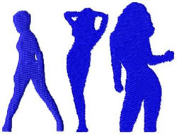 Ladies Silhouette embroidery design