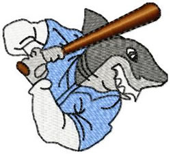 Shark Baseball embroidery design