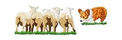 Pembroke Corgi with Sheep 2 embroidery design