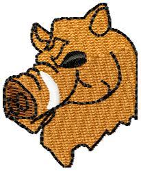 Razorback Head embroidery design