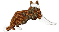 Red Border Collie Dog embroidery design