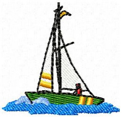 Sailboat With Man embroidery design